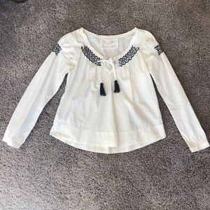Odd Molly White shirt w/ embroidery and tassels